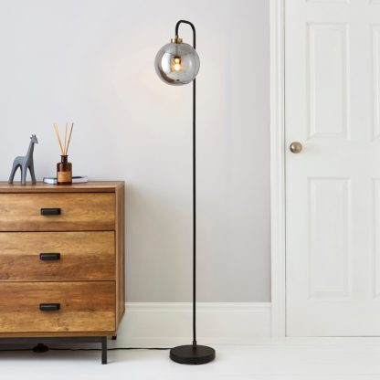 An Image of Tanner Black and Glass Floor Lamp Black
