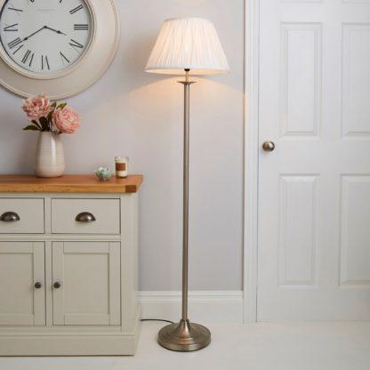 An Image of Reeded Satin Nickel Floor Lamp Ivory