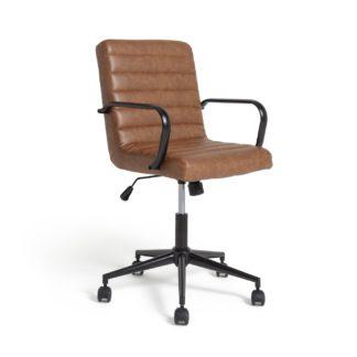 An Image of Habitat Alvar Faux Leather Office Chair - Tan