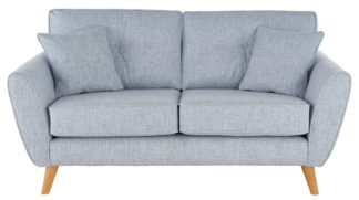 An Image of Habitat Isla 2 Seater Fabric Sofa - Light Blue