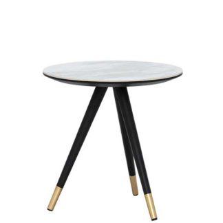 An Image of Parian Corner Table Matt Black and White Ceramic