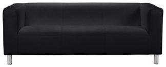 An Image of Habitat Moda 3 Seater Fabric Sofa - Black