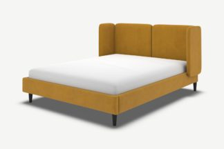 An Image of Ricola Double Bed, Dijon Yellow Cotton Velvet with Black Stained Oak Legs