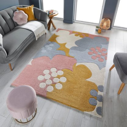 An Image of Retro Floral Rug Retro Floral Raspberry