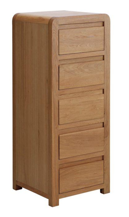 An Image of Habitat Novara 5 Drawer Tallboy - Oak & Oak Veneer