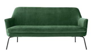 An Image of Habitat Celine 2 Seater Velvet 2 Seater Sofa - Green