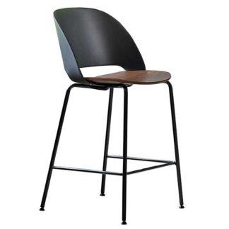 An Image of Bontempi Polo Barstool Glossy Black Frame Black Back and Walnut Seat