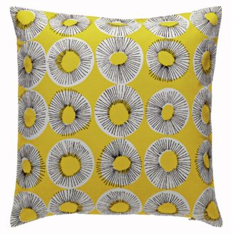 An Image of Habitat Evelyn 45 x 45cm Patterned Cushion - Yellow