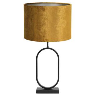An Image of Black Oval Table Lamp Gold Gemstone Shade