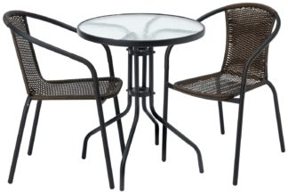 An Image of Argos Home 2 Seater Rattan Effect Balcony Set - Brown