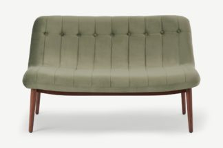 An Image of Halbert 2 Seater Sofa, Sycamore Green Velvet