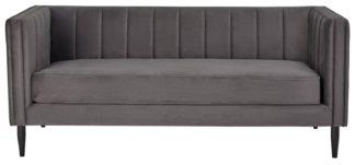 An Image of Habitat Vanessa 3 Seater Velvet Sofa - Grey