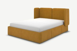 An Image of Ricola King Size Bed with Storage Drawers, Dijon Yellow Cotton Velvet