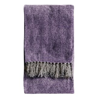An Image of Chenille Herringbone 130cm x 170cm Throw Purple