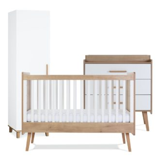 An Image of Silver Cross Westport Cot Bed Dresser Wardrobe Set - White