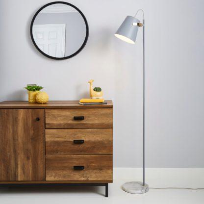 An Image of Karter Marble Base Floor Lamp Grey