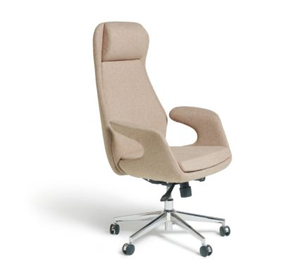 An Image of Habitat Alban Fabric Office Chair - Natural