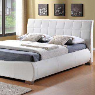 An Image of Dorado White Faux Leather Bed Frame White