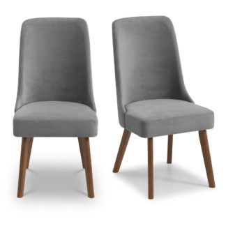An Image of Huxley Set of 2 Dining Chairs Grey Chenille Grey