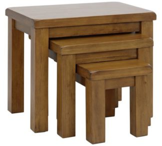 An Image of Argos Home Arizona Nest of 3 Solid Wood Tables
