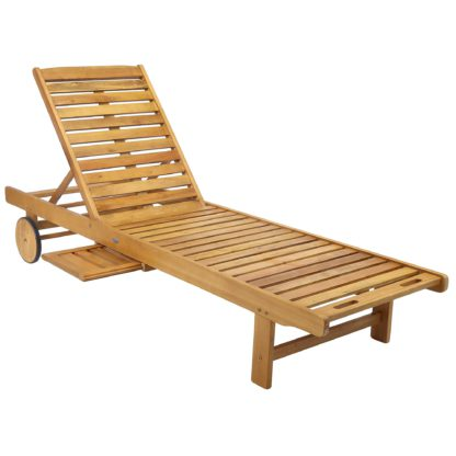 An Image of Acacia Wooden Lounger Natural