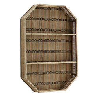 An Image of Rectangular Bamboo Shelf Dark Brown