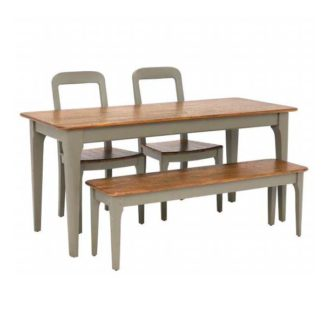 An Image of Maison Dining Table Bench and 2 Dining Chairs
