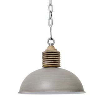An Image of Concrete Hanging Pendant Natural Wood Top