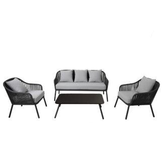 An Image of Rope 4 Seater Metal Lounge Set Grey