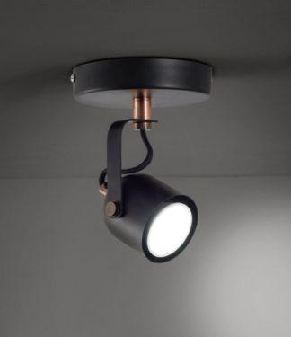 An Image of Argos Home Single Spotlight - Rose Gold & Black