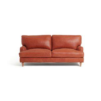 An Image of Habitat Livingston 3 Seater Leather Sofa - Tan