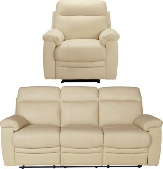 An Image of Argos Home Paolo Chair & 3 Seater Manual Recline Sofa -Ivory