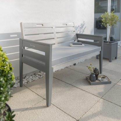 An Image of Florenity Grigio 2 Seater Cushioned Bench Grey