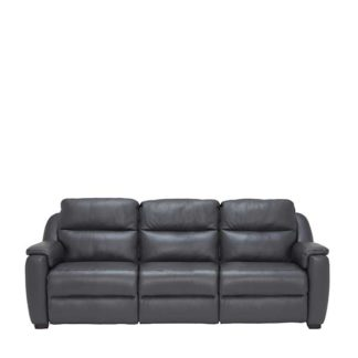An Image of Strauss Grey Leather Large Recliner Sofa