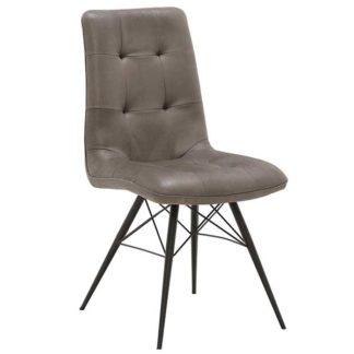 An Image of Hix Upholstered Dining Chair Grey and Black