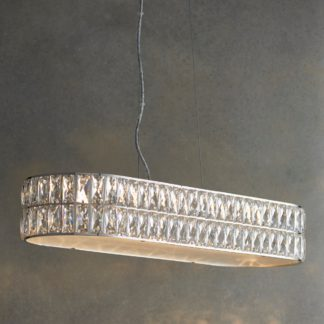 An Image of Crystal Armoury Integrated LED Diner Ceiling Fitting 75cm Chrome