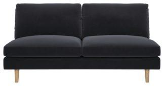 An Image of Habitat Teo 2 Seater Velvet Sofa - Charcoal