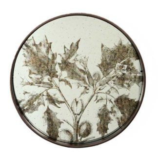 An Image of Round Decorative Foliage Mirror Antiqued