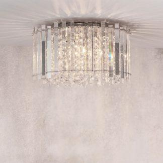 An Image of Crystal Blessing 4 Light Flush Ceiling Fitting Chrome