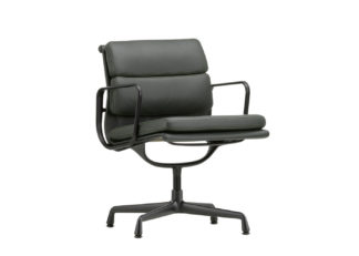 An Image of Vitra Eames EA208 Soft Pad Chair Leather Classic Height