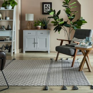 An Image of Cotton Flatweave Rug White and Grey
