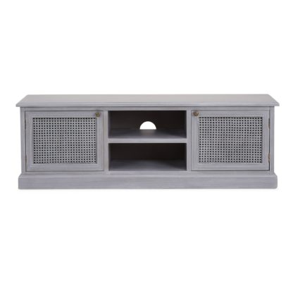 An Image of Lucy Cane Grey Wide TV Stand Slate (Grey)