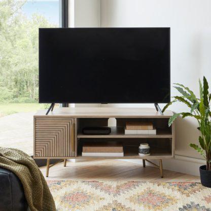 An Image of Priya Corner TV Stand Wood (Brown)