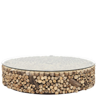 An Image of Caspian Solace 120cm Driftwood and Glass Coffee Table