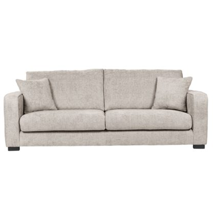 An Image of Carson Chunky Chenille 4 Seater Sofa Pebble