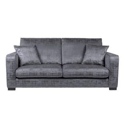 An Image of Carson Distressed Velvet 3 Seater Sofa Grey