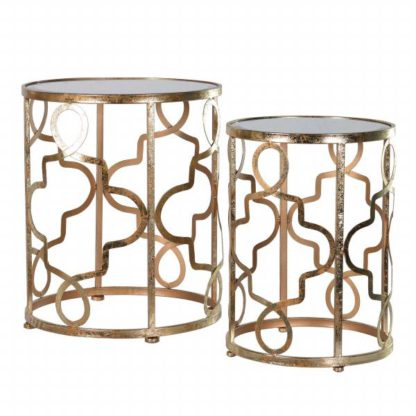An Image of Pair of Patterned Side Tables Gold