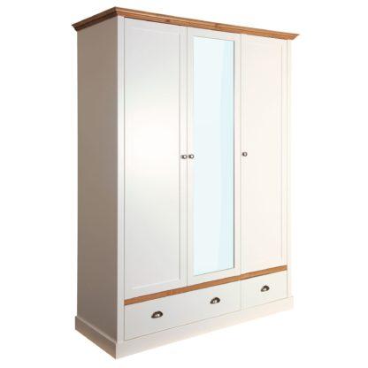 An Image of Sandringham White Triple Wardrobe White