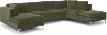 An Image of Monterosso Right Hand Facing Corner Sofa, Pistachio Green Velvet