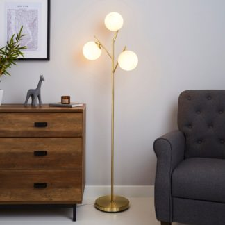 An Image of Eniola Frosted White Glass Ball Gold Floor Lamp Gold